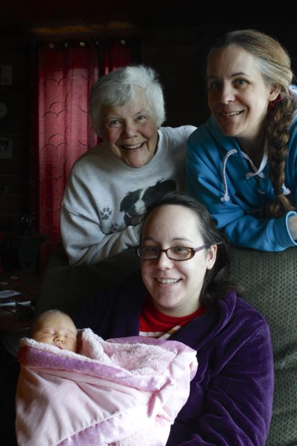 Baby, mother, grandmother and great-grandmother. Four generations of women!