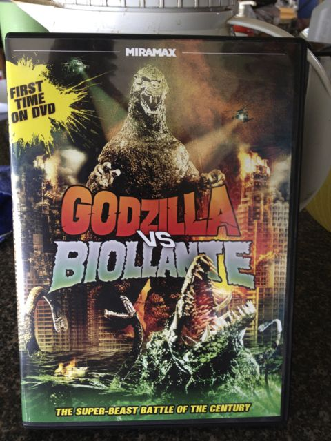 Godzilla vs. a genetically modified plant. Seriously. A plant. I believe, in the next one, he gets his butt kicked by a big buttery croissant.